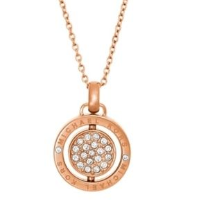 Michael Kors Flip Glitz Pendant Necklace-Rose Gold